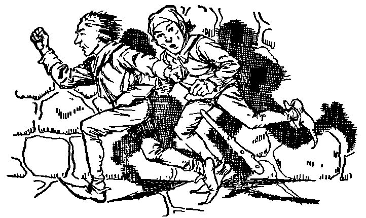 The troublemakers run away from the valiant tailor