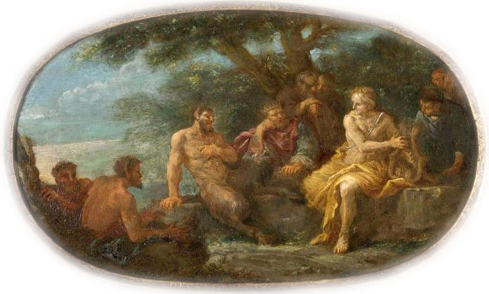 King Midas Judging the Musical Contest between Apollo and Pan. 17th century painting by Filippo Lauri