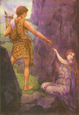 Orpheus leads Eurydice from death