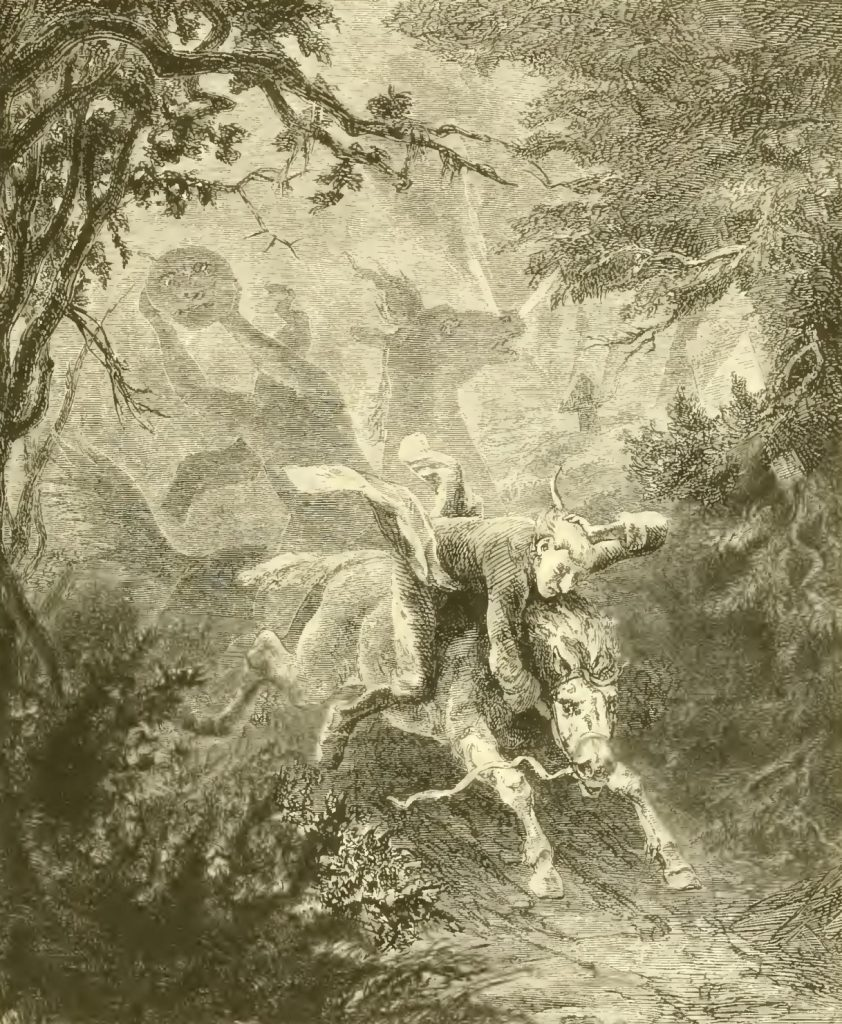 Ichabod Crane is chased by the Headless Horseman