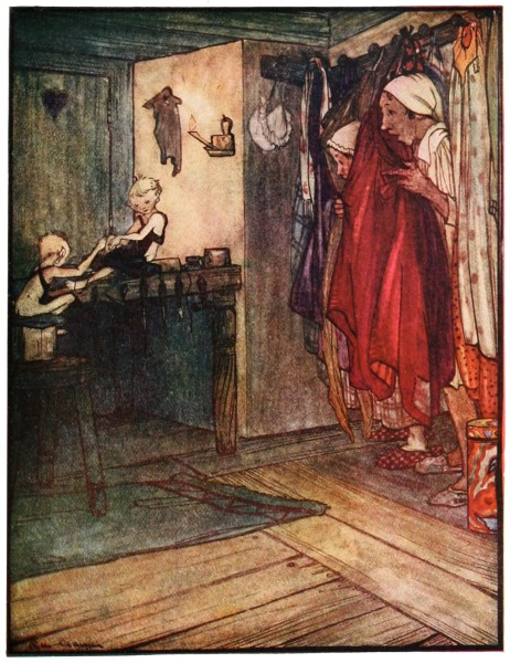 The shoemaker and his wife spy on the elves